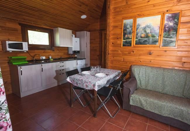 salon y cocina de bungalow de 2 habitaciones
